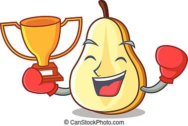 ökölvívás, nyertes, körte, lédús, szelet, friss, karikatúra, kabala