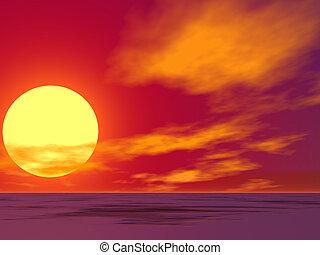 öken, soluppgång, röd