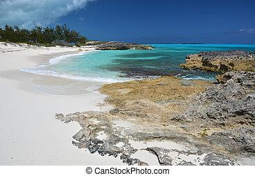 öken, strand, av, litet, exuma, bahamas