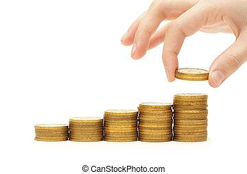 ökning, din, besparingar