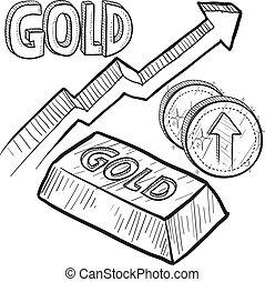 ökning, pris, skiss, guld