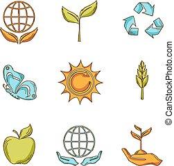 ökológia, és, hulladék, ikonok, állhatatos, skicc