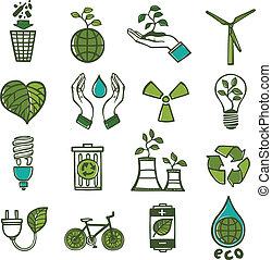ökológia, és, hulladék, ikonok, állhatatos, szín
