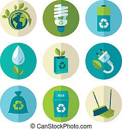 ökológia, és, hulladék, lakás, ikonok, állhatatos