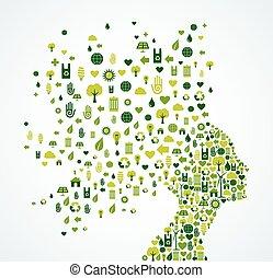 ökológia, app, ikonok, loccsanás, nő, fej