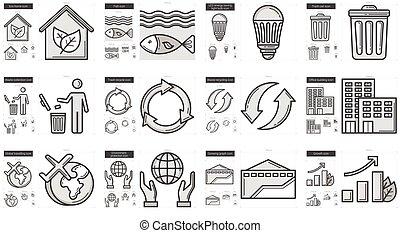 ökológia, egyenes, ikon, set.