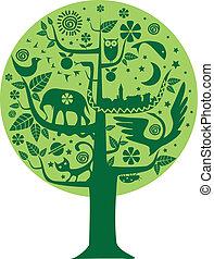 ökológia, fa, természet