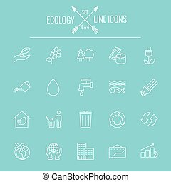ökológia, ikon, set.