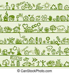 ökológia, motívum, concept., seamless, tervezés, -e