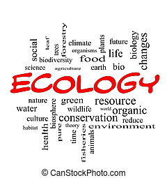 ökológia, szó, kivezetés, fogalom, felhő, piros