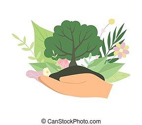 ökologie, besitz, baum, schutz, abbildung, umwelt, vektor, grün, menschliche hände