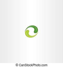 ökologie, blatt, vektor, grün, logo, kreis, ikone