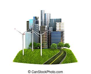 ökologie, concept., der, bild, von, a, modern, stadt, umgeben, per, der, natürlich, landschaft., 3d, abbildung