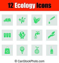 ökologie, ikone, satz