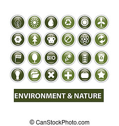 ökologie, natur, tasten, satz, vektor, glänzend