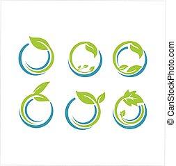 ökologie, set., pflanze, blatt, logo, wohlfühlen, natur, design, organische , ikone