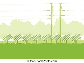 ökologie, sonnenkollektoren, türme, hoch, vektor, grün, spannung, hintergrund, tafel