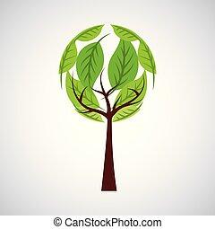 ökologie symbol, baum, umwelt, grün, runder