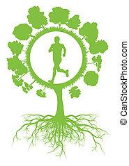ökologie, umwelt, grüner baum, mit, wurzeln, und, rennender , gesunde, mann, vektor, hintergrund, begriff