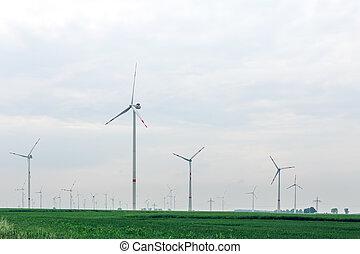 ökologisch, alternative, macht, mit, windmühle, auf, der, feld