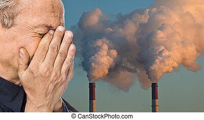 ökologisch, concept., beschmutzen, ein, atmosphäre