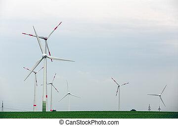 ökologisch, macht, mit, windmühle, auf, der, feld