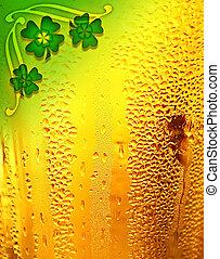öl, bakgrund, med, klöver, gräns