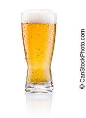 öl barometer, med, kondensation, på, a, vit fond