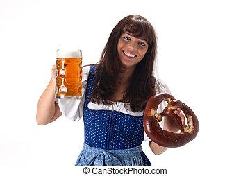 öl, bayersk, kvinna, klänning, salt kringla