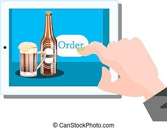 öl, beställa, kompress, direkt