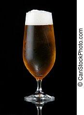 öl, eller, lager, in, glas