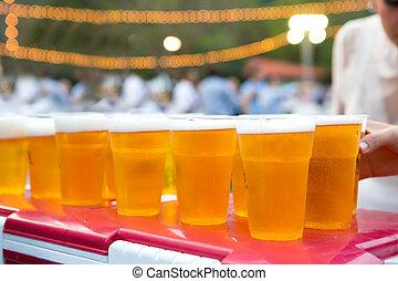 öl, in, glas