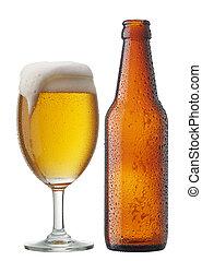 öl, med, flaska