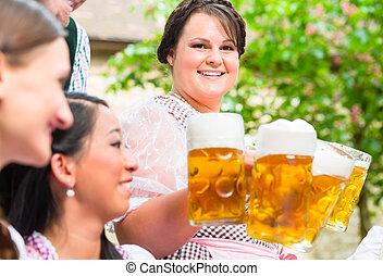 öl, tjänande, trädgård, servitris