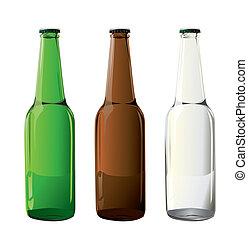 öl, vektor, flaskor