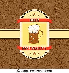 öl, vektor, retro, etikett