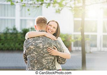 ölelgetés, boldog, neki, férj, feleség
