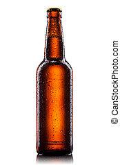 ölflaska, med, vatten gnuttar, isolerat, vita