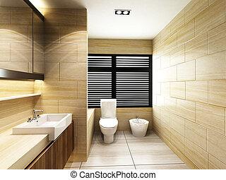öltözék, alatt, fürdőszoba