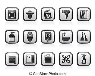 öltözék, fürdőszoba, ikonok