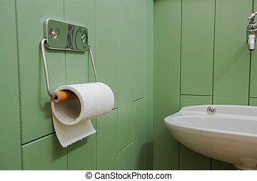 öltözék, fürdőszoba, neatly, króm, lágy, modern, wall., dolgozat, zöld, függő, fehér, tartó, tekercs