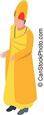 öltözék, isometric, ikon, lelkész, mód, arany