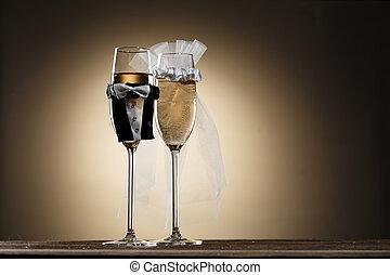 öltözött, alatt, esküvő alkalmaz, pohár pezsgő
