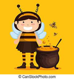 öltözött, kevés, feláll, leány, méh