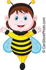 öltözött, kicsi lány, karikatúra, méh