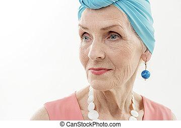 öltözet, elegáns, figyelmes, hölgy, idősebb ember