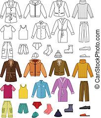 öltözet, gyűjtés, mens