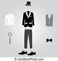 öltözet, hivatalos, eps10, díszkíséretek