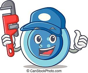 öltözet, vízvezeték szerelő, betű, gombol, karikatúra