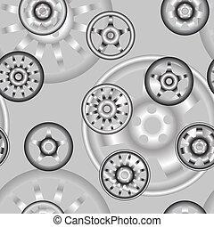 önmagától mozgó, gördít, noha, ötvözet, wheels., seamless, wallpaper.